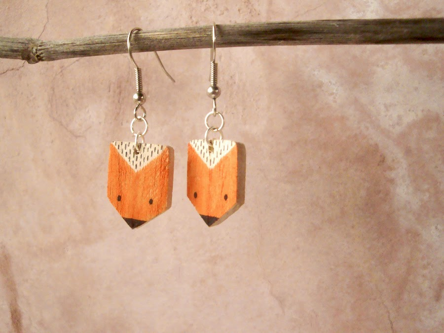 Handmade wooden foc earrings