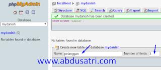 database dengan phpmyadmin