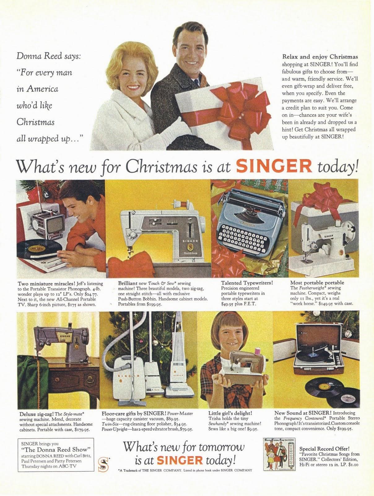 vintage everyday vintage celebrity christmas ads donna reed for singer machines inc