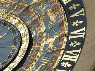 Close-up of an elaborate clock face
