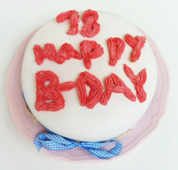 red velvet Birthday cake with fondant