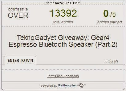 Gear4 Espresso Bluetooth Speaker Giveaway Part 2 Winner
