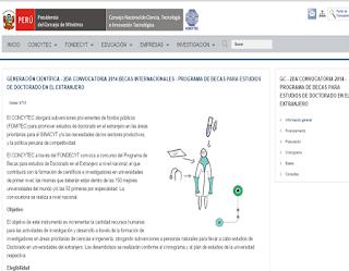 CONCYTEC solicitud Becas para estudios de Doctorado en el extranjero 2014, requisitos inscripción Becas estudio de doctorado en universidades más prestigiosas del mundo Perú