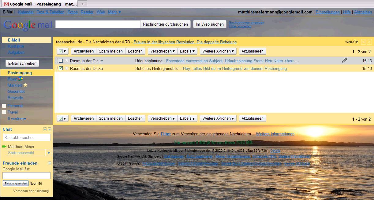Beispiel Hintergrundbild Google Mail