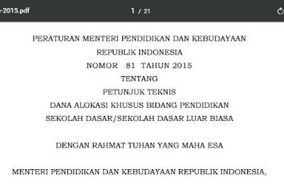 Juknis DAK SD Sesuai Permendikbud No. 81/2015