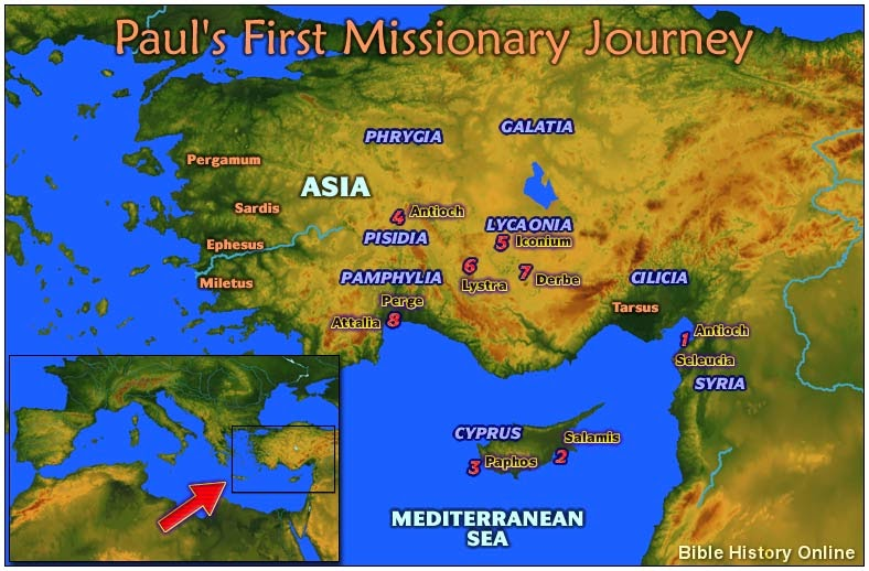 Bible Map Of Asia Minor.Vitalpastor Acts Resources Paul S First Journey Through Asia Minor