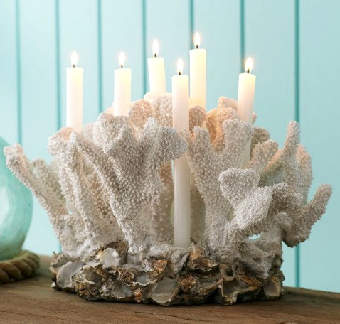 White Coral Candle Holder Table Centerpiece