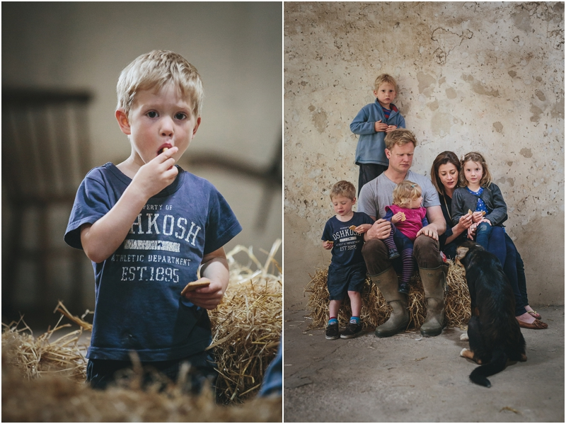 A family eating biscuits in Windout Barn