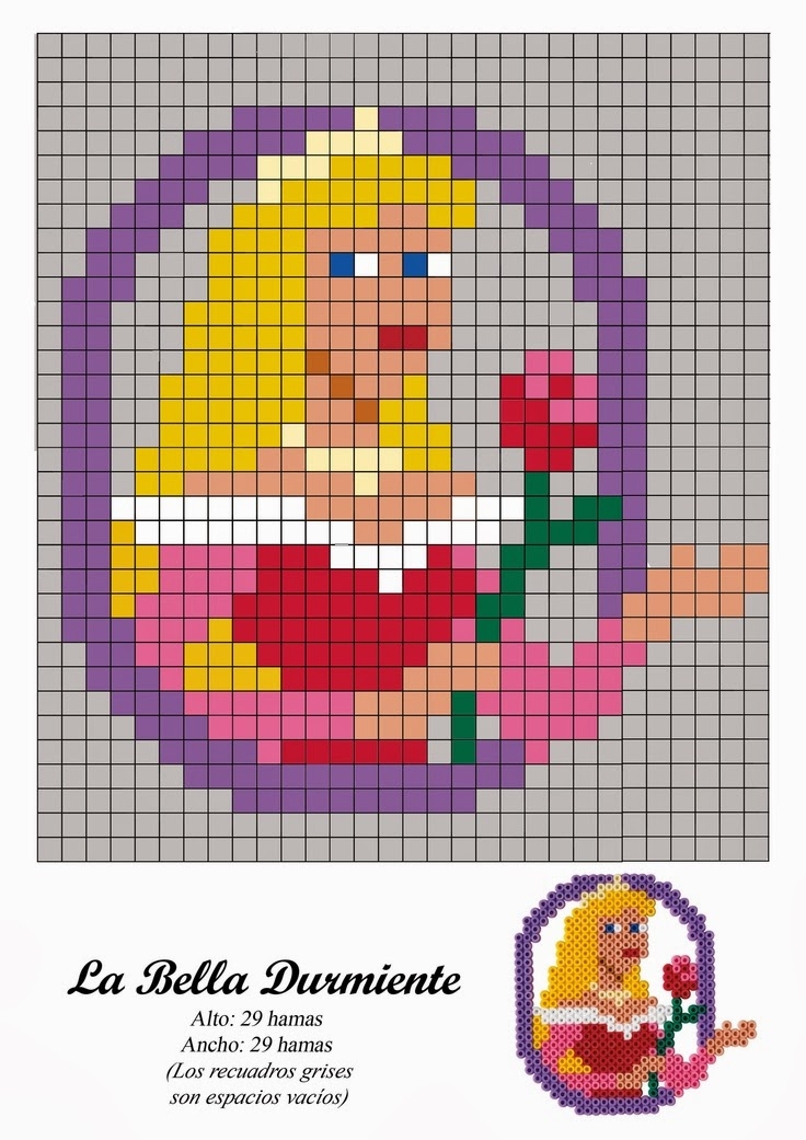 Aurora from Sleeping Beauty Hama Beads Pattern post by wememade