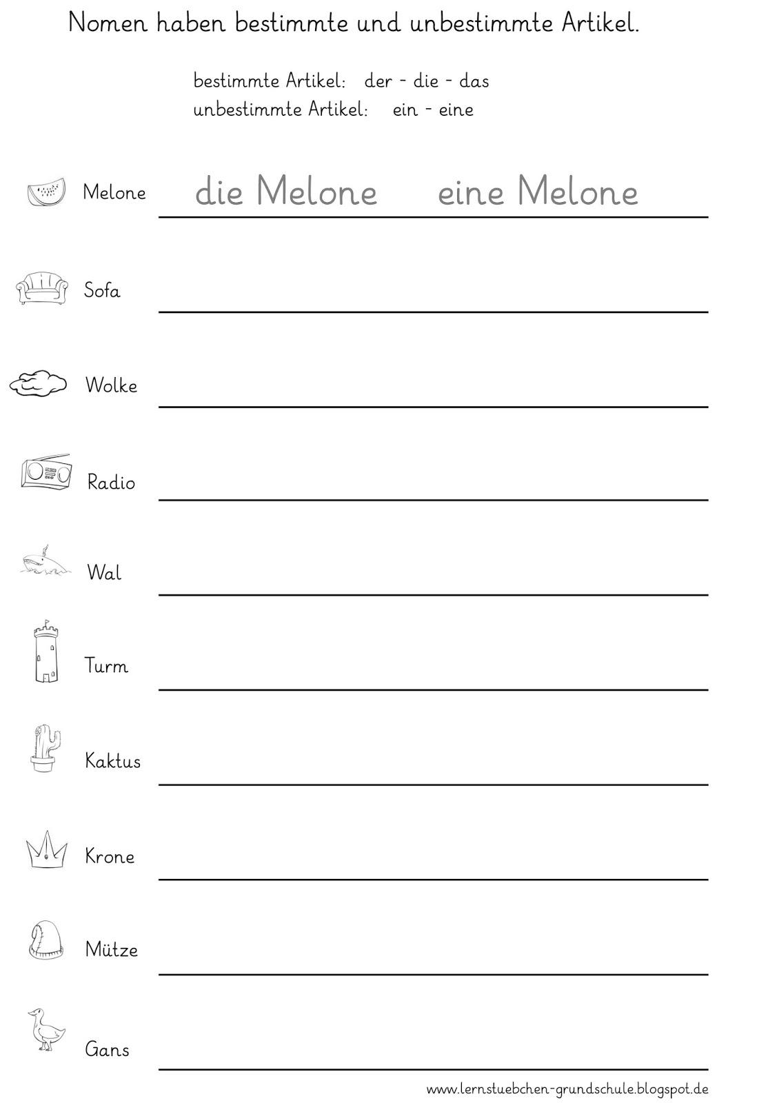 Nomen Begleiter Arbeitsblatt : Lernstübchen nomen und ihre bestimmten unbestimmten