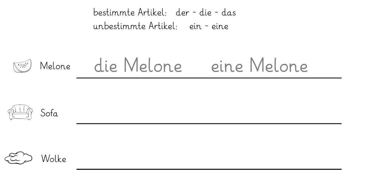 Arbeitsblatt Nomen Begleiter : Lernstübchen nomen und ihre bestimmten unbestimmten