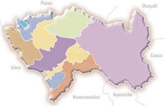 Dibujo del Mapa de Junín para colocar nombres de sus provincias