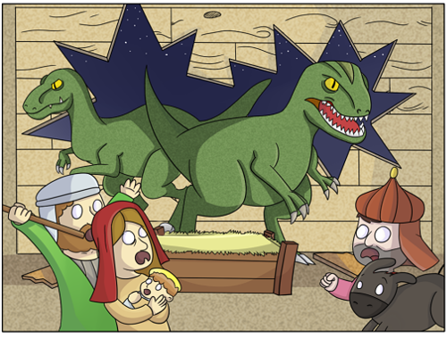 belen con dinosaurios