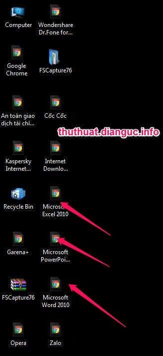 Hướng dẫn sửa lỗi icon win7 bị đổi thành Chrome