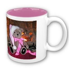 Teddy Christmas Mug pink Santa hat &Pink ribbon mug