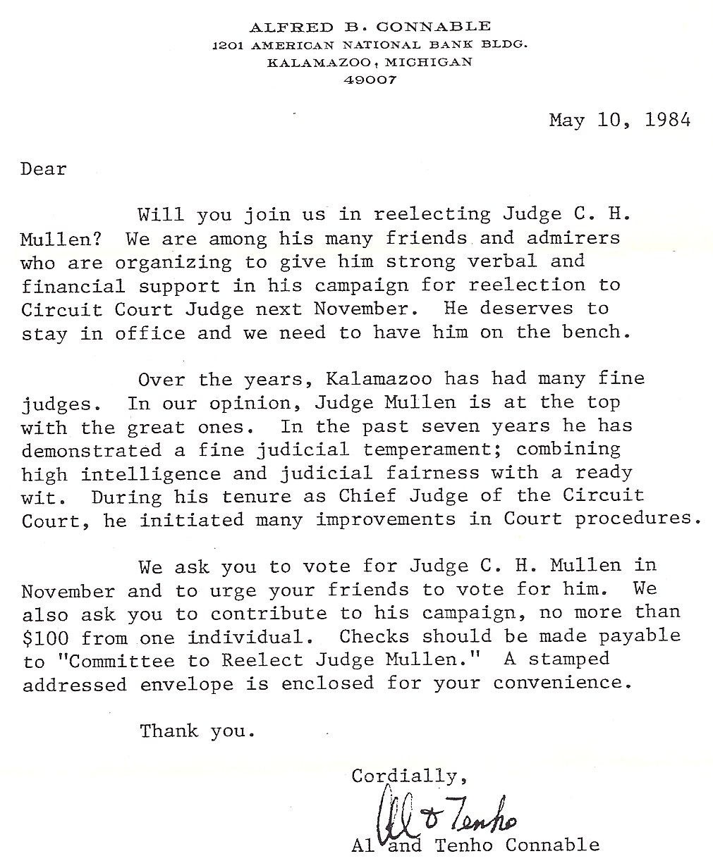 Remembering judge mullen letter from al and tenho connable in support of chs re election to the bench expocarfo Image collections