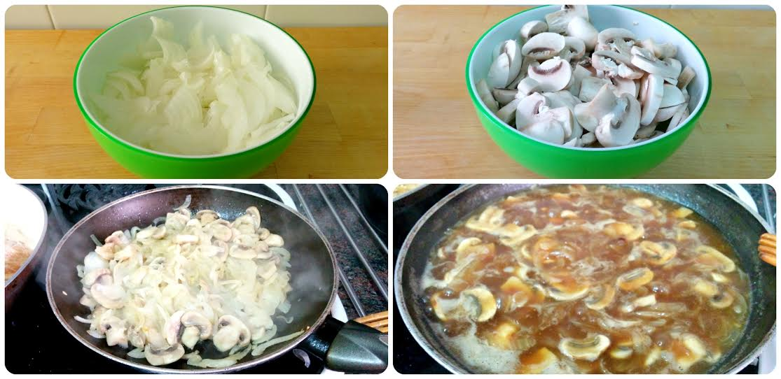 acompañamiento / sides del solomillo de cerdo con salsa braten: cebolla, champiñones