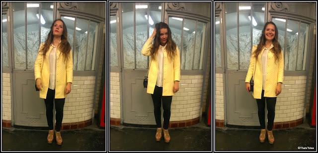 Le Style de la Semaine, Clara manteau mi-saison imper Zara damier jaune et blanc copie Vuitton Marc Jacobs printemps été 2013 chaussures compensées Claudie Pierlot slim Claudie Pierlot