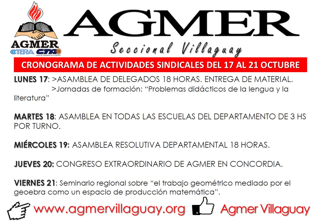 CRONOGRAMA DE ACTIVIDADES SINDICALES DEL 17 AL 21 OCTUBRE.