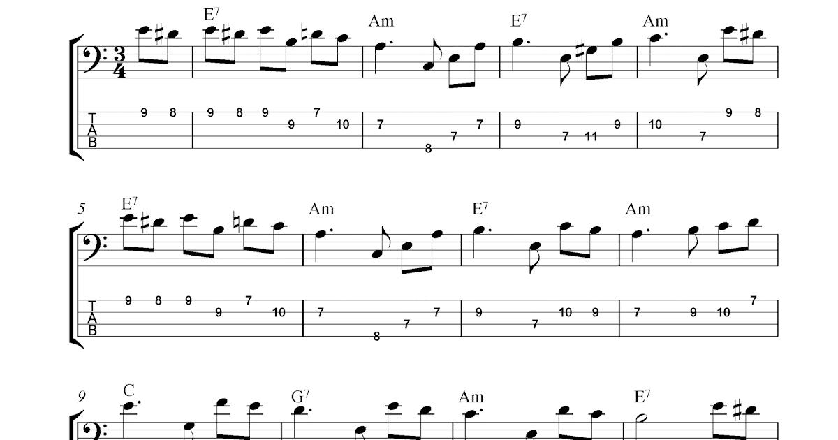 Free bass guitar tab sheet music, Fur Elise