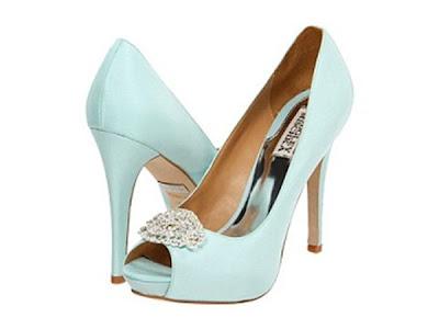 Badgley mischka blue bridal shoes