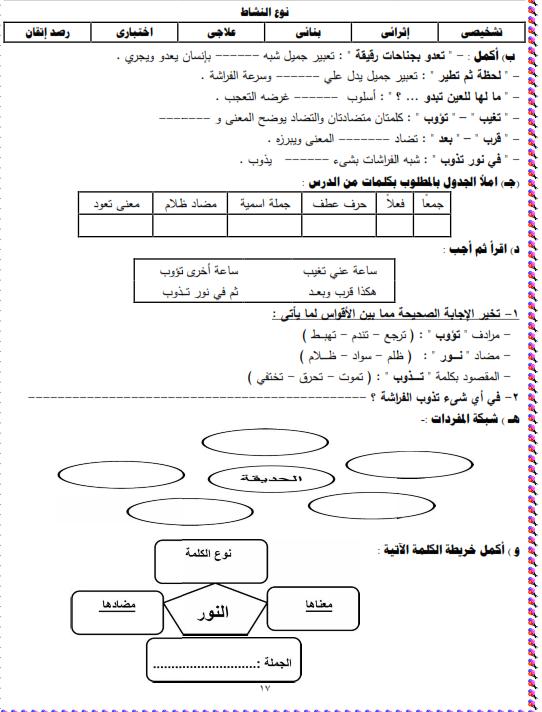 شيتات المجموعة المدرسية لمادة اللغة العربية للصف الثالث الابتدائى على هيئة صور للمشاهدة والتحميل The%2Bfirst%2Bunit%2B3%2Bprime_017
