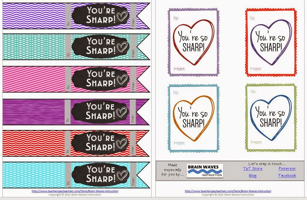 brain waves instruction school supply themed valentines