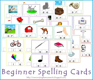 Free Beginner Spelling Cards for hands on phonics practice