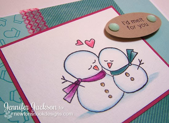 Snowman Valentine using Frozen Friends Stamp Set from Newton's Nook Designs