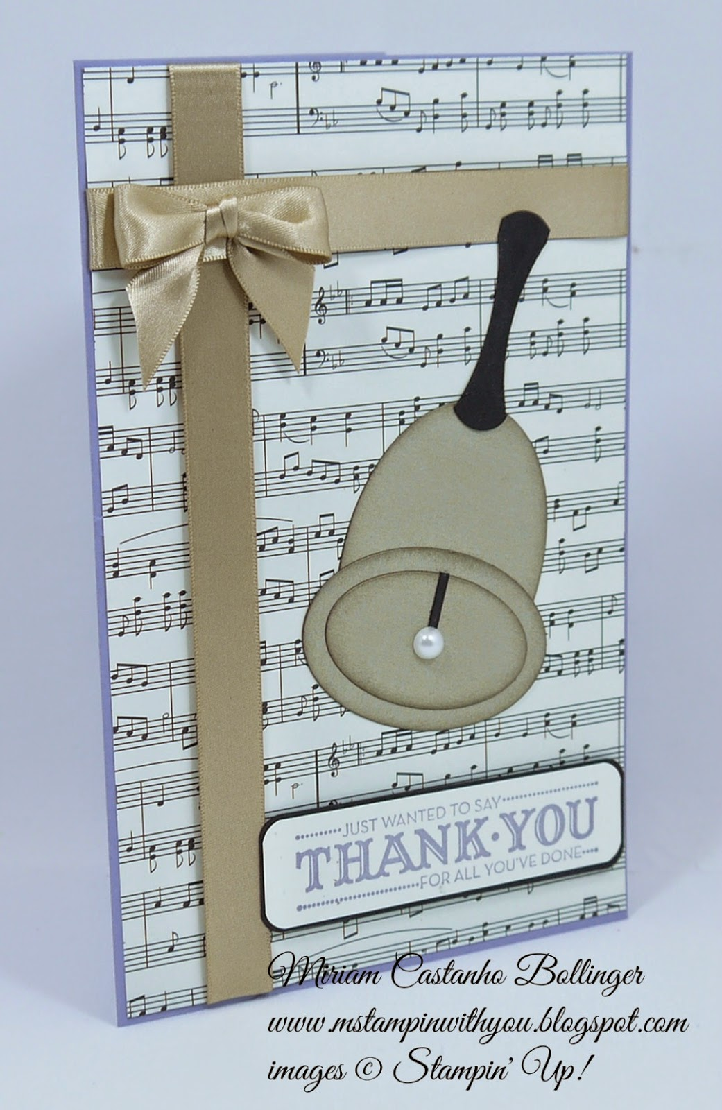 Miriam Castanho Bollinger, #mstampinwithyou, stampin up, demonstrator, handbell, let your hair down, big shot, oval collection framelits, brushed gold card stock, thank you, su