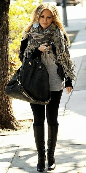 Beautiful Scarf, Black Leaging, Leather Bag And Leather Boot