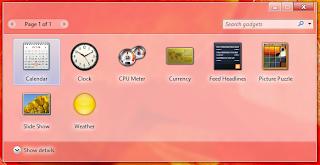 與 Windows 7 相同設計的 Gadgets