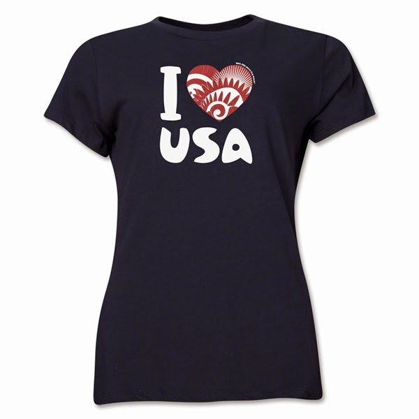 2014 FIFA World Cup Brazil I Heart USA Women's Shirt