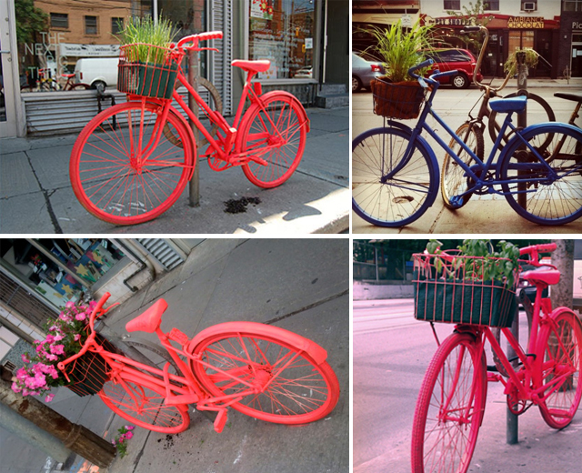 Bikes turned into flower pots