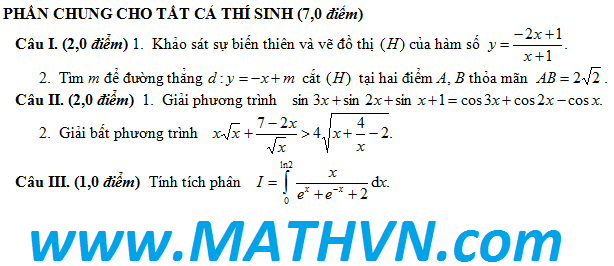 dap an de thi thu toan ly hoa dai hoc vinh lan 4 nam 2012