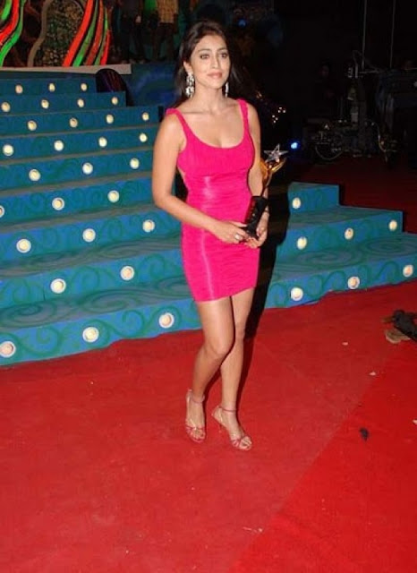 Shriya Saran in Tight body Hugging Pink Short Skirt in Bollywood Awards function