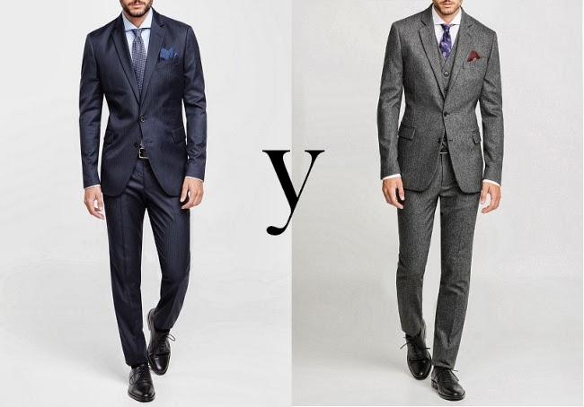 trajes en HE by Mango azul y tres piezas gris