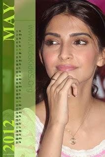 Sonam Kapoor Desktop Calendar 2012