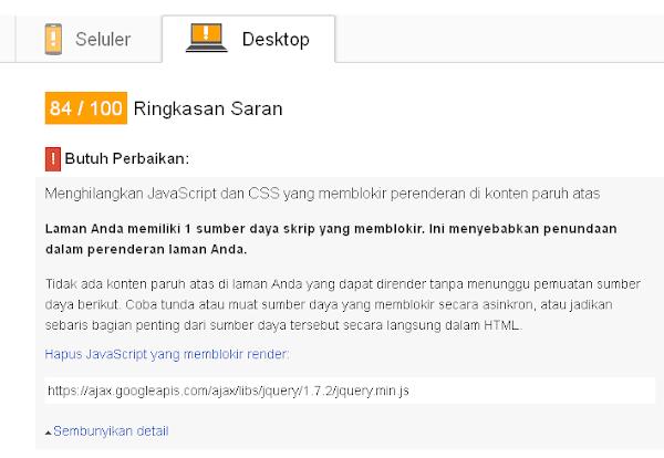 2 Cara Mengatasi Render Blcoking Javascript Library JQuery
