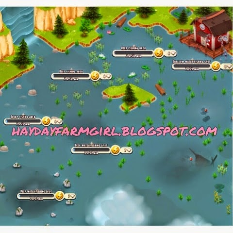 Hay day tips by hd farm girl updated fishing pond map for Pond fishing tips