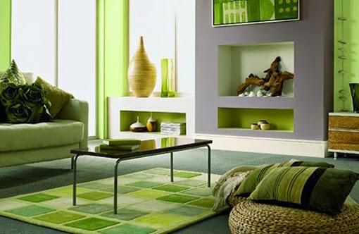 Salas en verde y gris salas con estilo for Cortinas verdes para salon