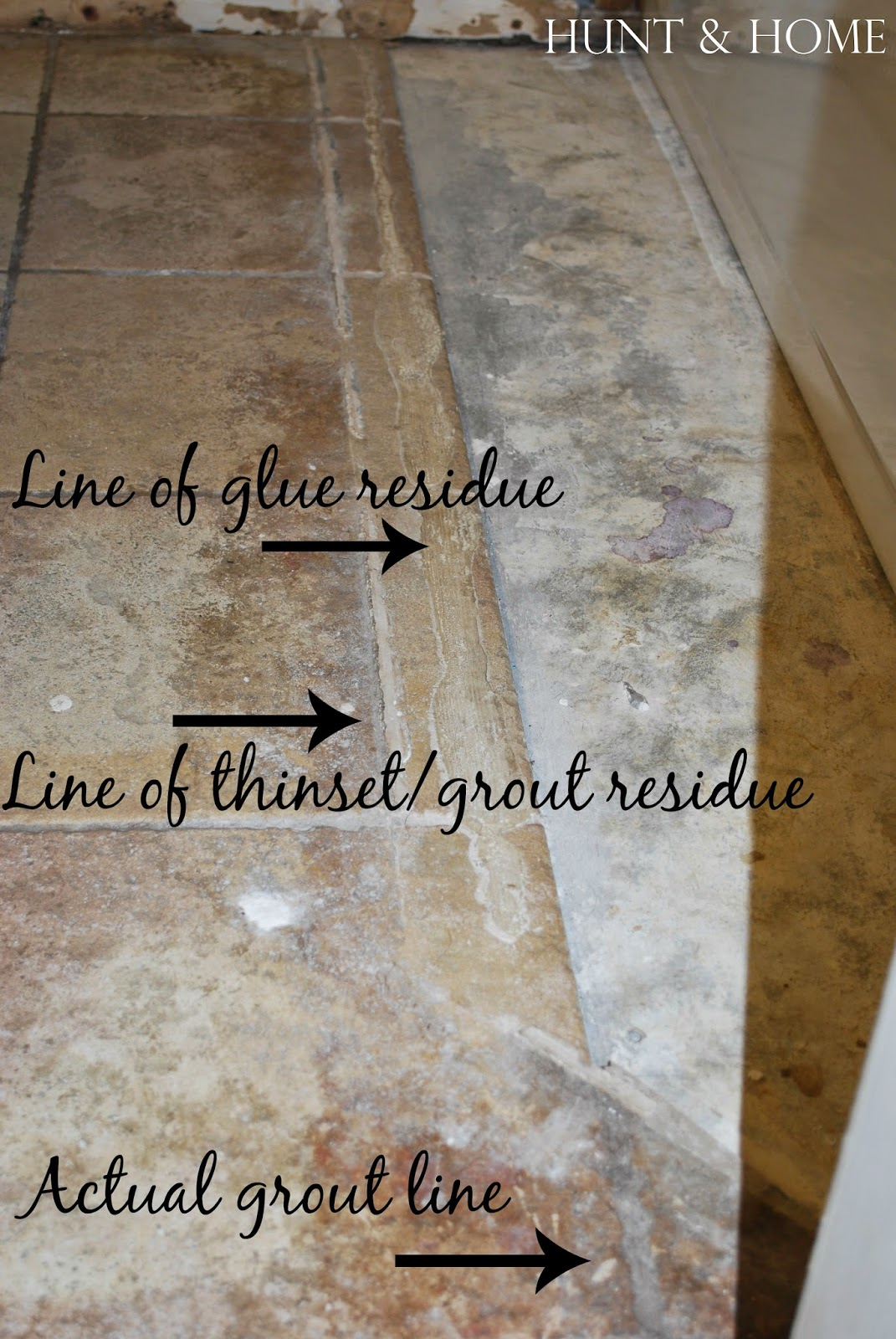 how to clean grout and thinset off tile