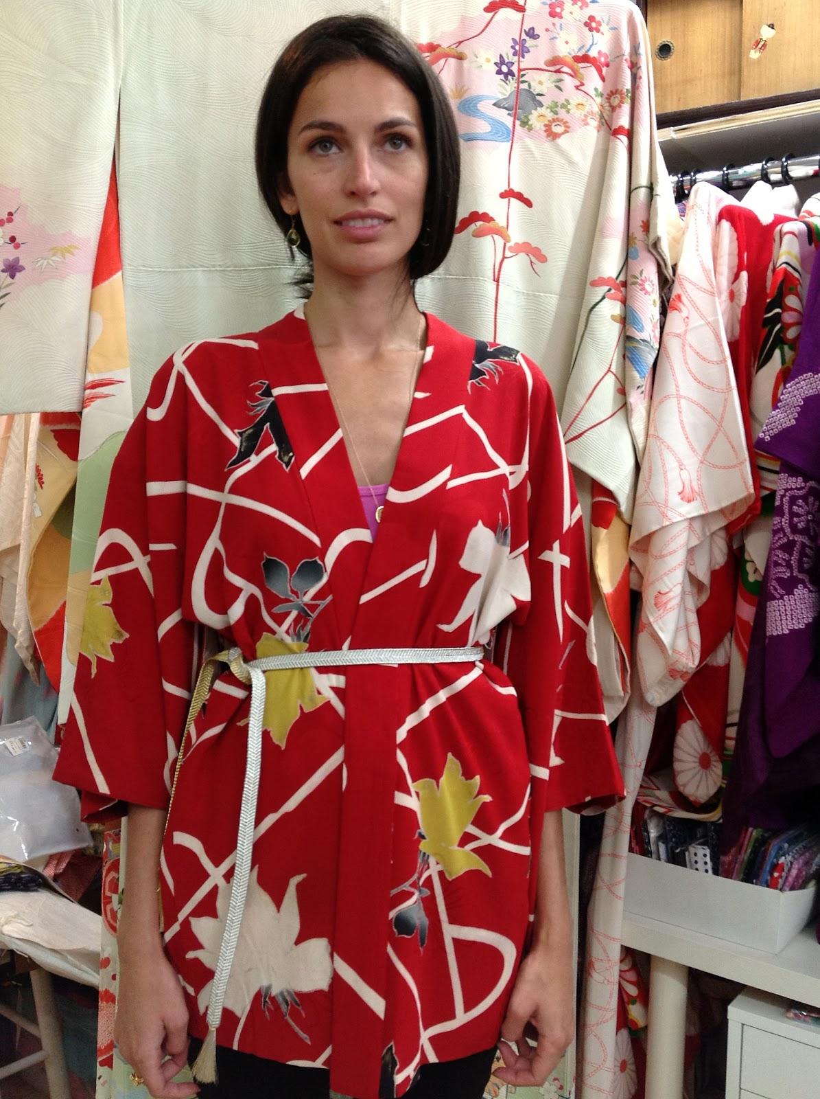 Red kimono jacket at Kimono House NY