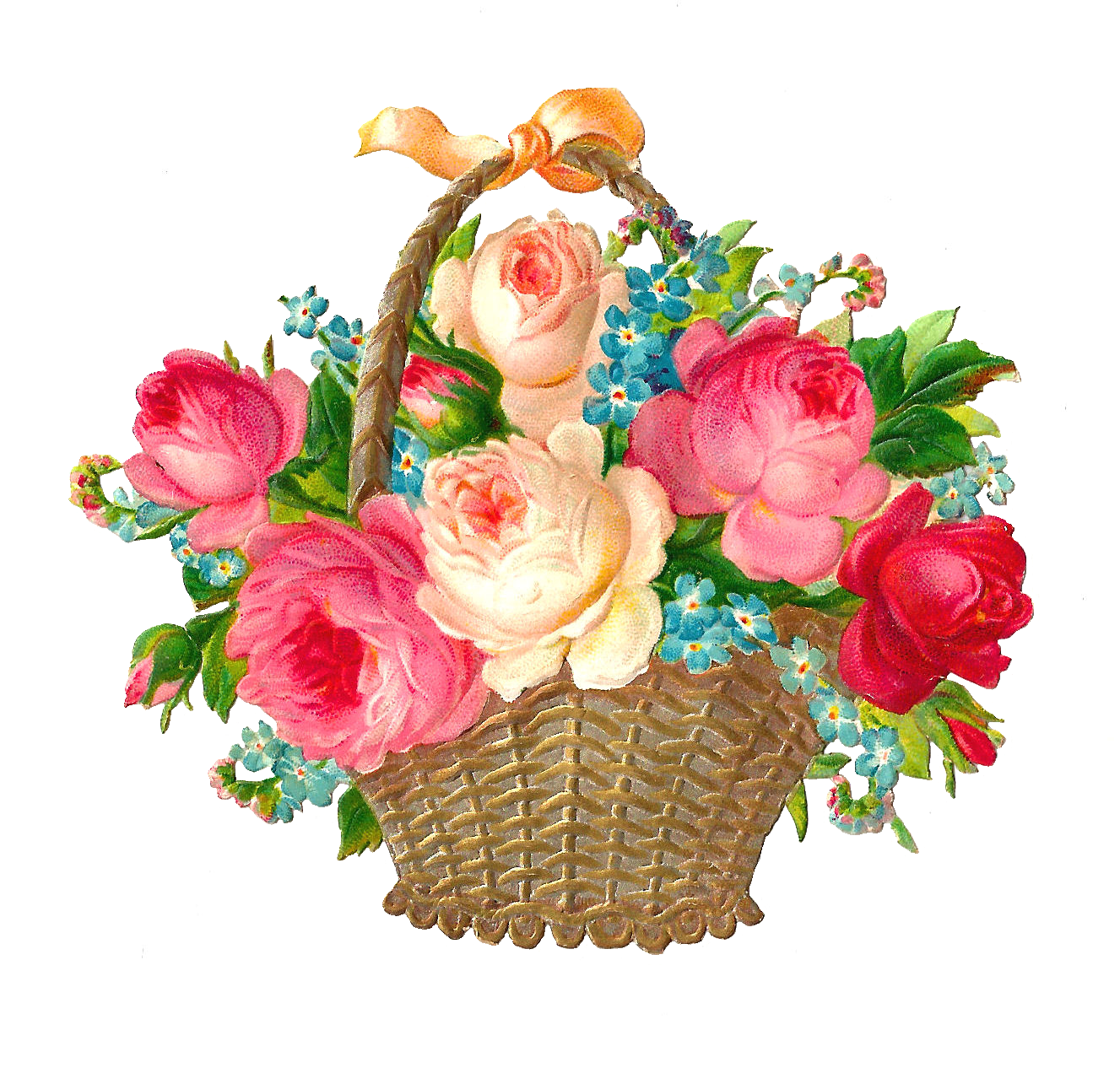 Free Flower Clip Art: Vintage Pink and Red Rose Graphic Flower Basket