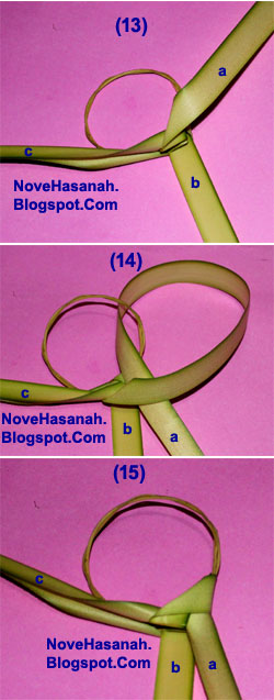 cara membuat kerajinan tangan atau prakarya dari janur daun kelapa muda berupa burung cenderawasih 15