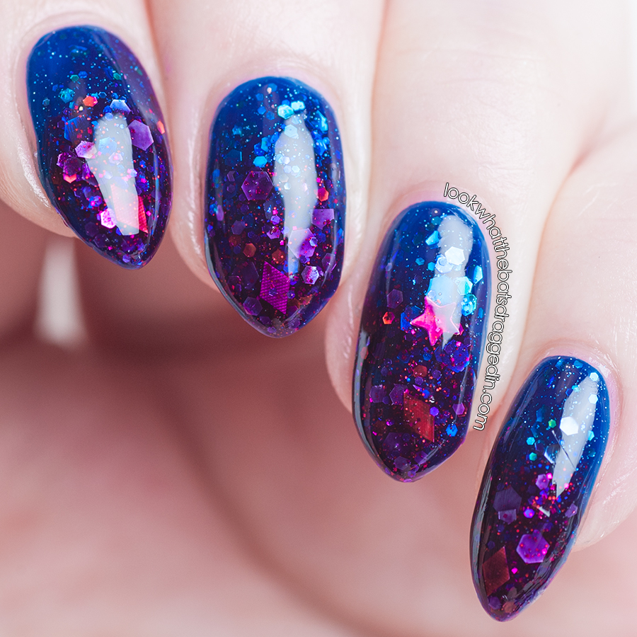 Jelly Glitter Gradient nail art using Maybelline Sapphire Siren, Emily de Molly Dark Depths and Femme Fatale Cosmetics Vortex Remains