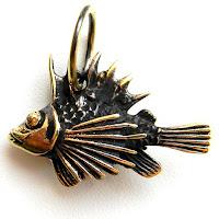 купить бронзовые кулоны украина рыба подвеска ерш латунь подарок