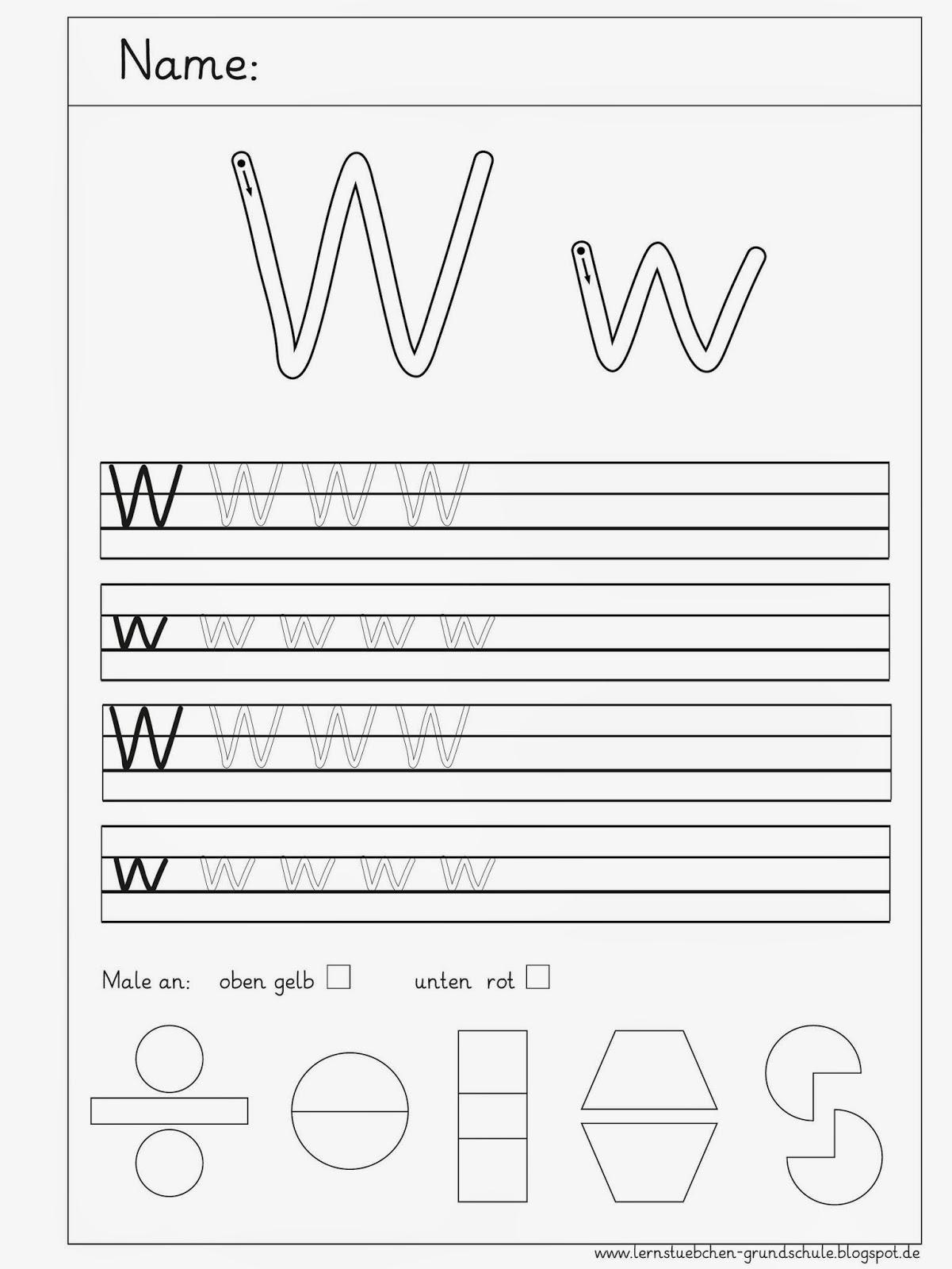 Lernstübchen: die Schreibblätter zum W - w