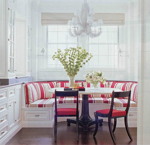 Breakfast nook table a stainless steel table completes your modern kitchen decor - Banquettes in kitchens ...