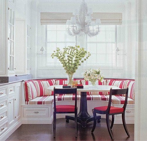 Breakfast Nook Table: A Stainless Steel Table Completes